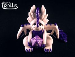 White And Purple D20 Dragon by Kazziepones
