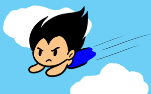 Vegeta flying by Budgies