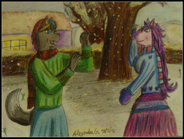 Eneas and  Asha (snowy Day) by tigrisssilvery