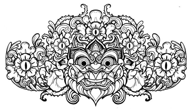 Barong Head line art by mostlymade