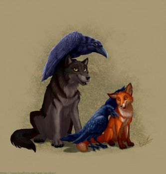 Wolves have ravens and foxes have crows by EosFoxx