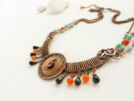 Kokopelli wire neclace by UrsulaOT