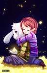Frisk and Asriel warming moment by Seonidas