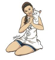 Woman with Kitty by bleyerart
