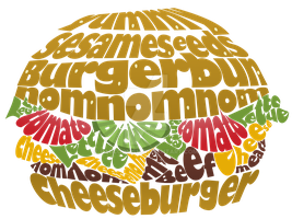 Typography Cheeseburger by Raccoonish
