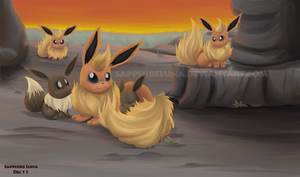 Flareon and Eevee by sapphireluna