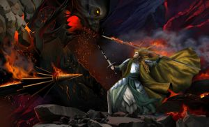 Glorfindel and the balrog on the edge of the cliff by steamey