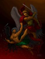 Saint Michael Archangel defeats Satan by artfreakguy