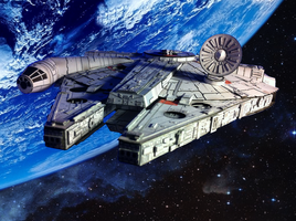 Papercraft Millennium Falcon With Background by Ohnhai