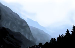 Practice03 Foggy Mountains by MirrorandImage