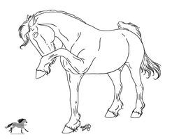 Pawing Friesian Lineart by RejectAll-American