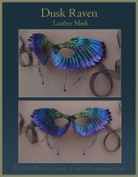 Dusk Raven Mask - Leather Wing Mask with Beads by windfalcon