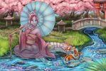 Relaxing in the Cherry Blossom Gardens by Ifus
