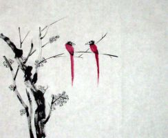 Chinese Painting- Birds by anomalyconcept