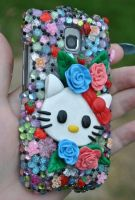 Hello Kitty Decorated Cell phone case by MadamLuck