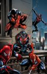Five Spidey's - Spiderman costumes - Jason Metcalf by JasonMetcalf