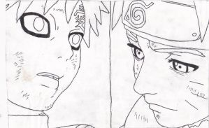 naruto and gaara lineart by Trees1225