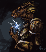 Skyrim: Argonian portrait by Highlighterjuice
