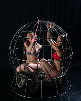 Two girls in a cage by Infomediastudios