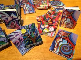 Notebooks with my art on them by karincharlotte
