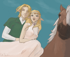 Link + Zelda + Epona by TheInnocentDevil
