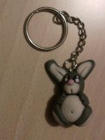 Keychain with bunny fimo by bimbalove81
