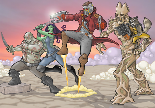 Guardians of the Galaxy crew in full-color by davidstonecipher