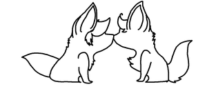 Chibi Canine Kiss Base by WolfWorkBases