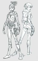 Outer Space Gunslinger Girls by staino