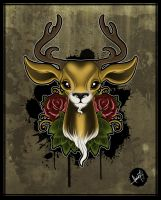 Stag Bust - Tattoo Design by SugarSkullCandy