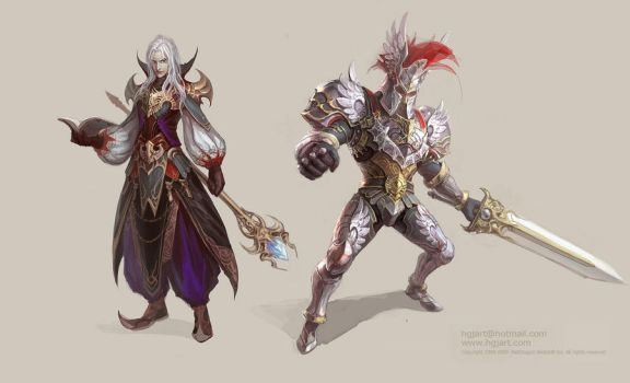 Mage and Warrior by hgjart