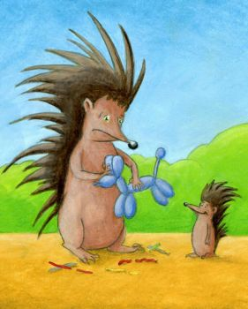Balloon Twisting Porcupine by tursiart