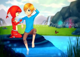 Link and Mipha by Love2DrawManga