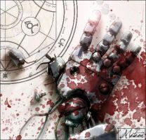 A metal arm in the blood by Art-is-a-Explosion