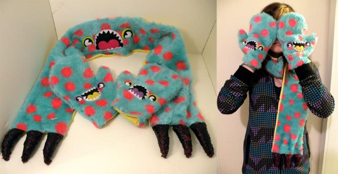 Monster mittens and scarf by loveandasandwich
