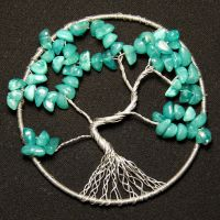 Turquoise and Silver Tree of Life pendant by craftymama