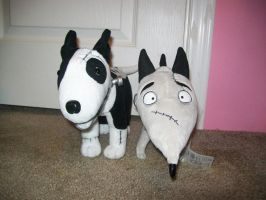 Old and New Frankenweenie Plush 1984 and 2012 by BeautifulHusky