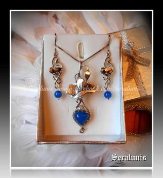 'Blue heart' handmade sterling silver jewelry set by seralune
