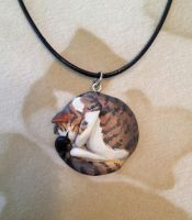 Tabby Cat Sleepy Necklace by Gatobob
