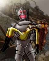 Ultron Defeats Firestar by cuttlesquid