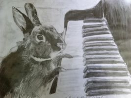 Rabbit playing piano by seasparkle-lioness