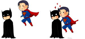 Batman + Superman chibis by Mikiku