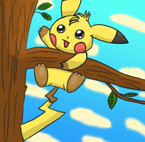 Pika up a tree - COLORED by pichu90