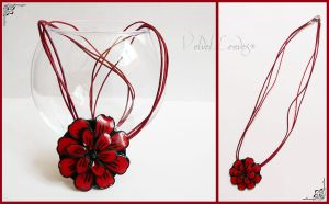 Red Flower Necklace #2 by VelvetLeaves