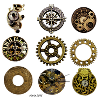 Steampunk Clock accessories Stock Photo by MariaRaute2