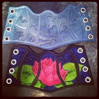 wave and lotus corset cuff by MerrillsLeather