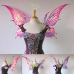 Flora Pink Painted Iridescent Fairy Wings by FaeryAzarelle
