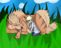 .:Arcanine and Lia:. by Tobi10111