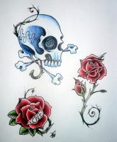 Skulls and roses by JonToogood