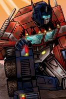 Optimus Prime, after battle. by GlauG